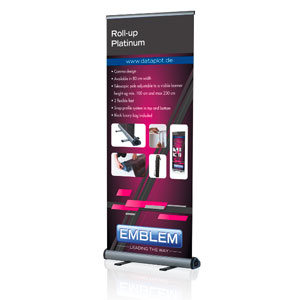 EMBLEM EASY Roll Up Platinum <br />Display Maße: 80 cm x 80-230 cm
