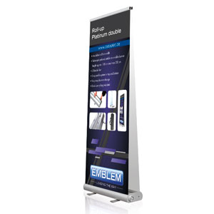 EMBLEM EASY Roll Up Platinum DOUBLE<br />Display Maße: 80 cm x 80-230 cm