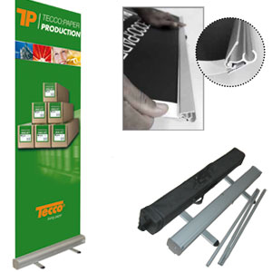 TECCO PRODUCTION Roll Up | Bundle 1000/1000<br />Display 1000 mit PET220 Roll Up (1000mm x 5m)