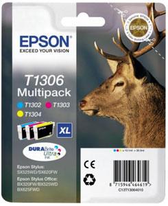 EPSON Hirsch Tinten Multipack XL 3-farbig, C/M/Y,  DURABrite Ultra | T1306