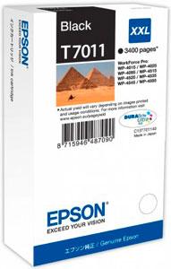EPSON T7011 Tintenpatrone BLACK (XXL) für WP4000/4500 Serie | 63,2 ml