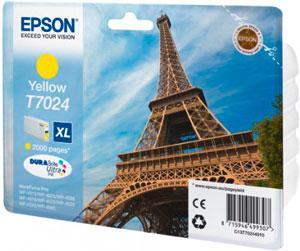 EPSON T7024 Tintenpatrone GELB (XL) für WP4000/4500 Series | 21,3 ml