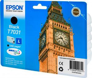 EPSON T7031 Tintenpatrone BLACK (L) für WP4000/4500 Series | 24,0 ml