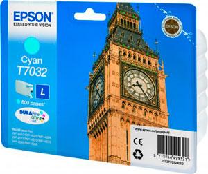 EPSON T7032 Tintenpatrone CYAN (L) für WP4000/4500 Series | 9,6 ml