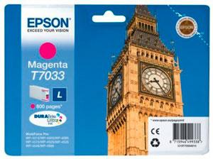 EPSON T7033 Tintenpatrone MAGENTA (L) für WP4000/4500 Series | 9,6 ml