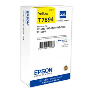 EPSON T7894 GELB XXL Tintenpatrone, 4000 Seiten   34,2 ml<br />für WF-5110, WF-5190, WF-5620, WF-5690