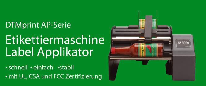 DTM Print AP360e und AP362e halbautomaitsche Etikettiermaschinen, Label Applikator