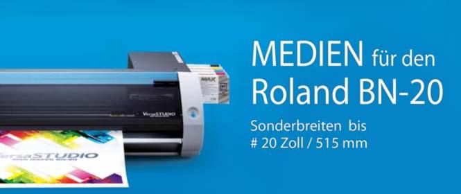 Papiere und Medien in Sonderbreiten bis 20 Zoll, für den Roland BN-20