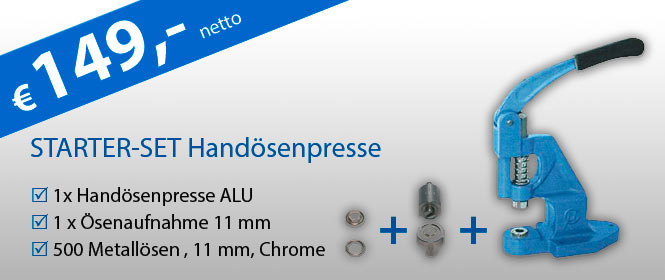 Starter-Set Hando¨senpresse mit O¨senaufnahme und 500 O¨sen