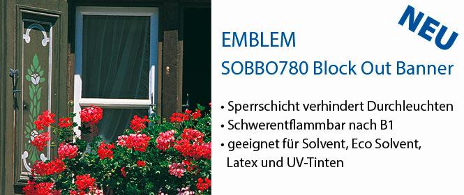 SOBBO780, EMBLEM Solvent Block Out Banner, schwerentflammbar nach B1