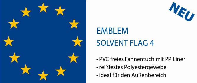 EMBLEM SOLVENT FLAG4, reissfester Fahnenstoff mit PP Liner fu¨r Ausssenanwendungen