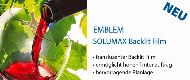 SOLUMAX, EMBLEM Glänzender transluszenter Solvent Backlit Film, für intensive Farben