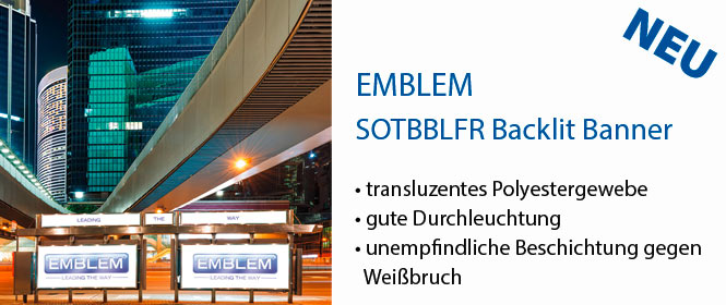 SOTBBLFR, Solvent Textile Banner Backlit aus transluzentem Polyestergewebe, B1 flammhemmend