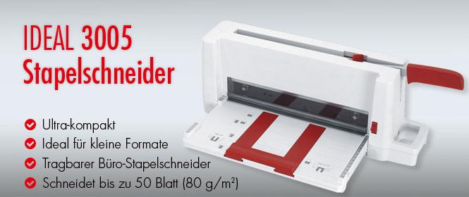 IDEAL Ultra-Kompakt-Stapelschnedier 3005, perfekt fu¨r jedes Bu¨ro